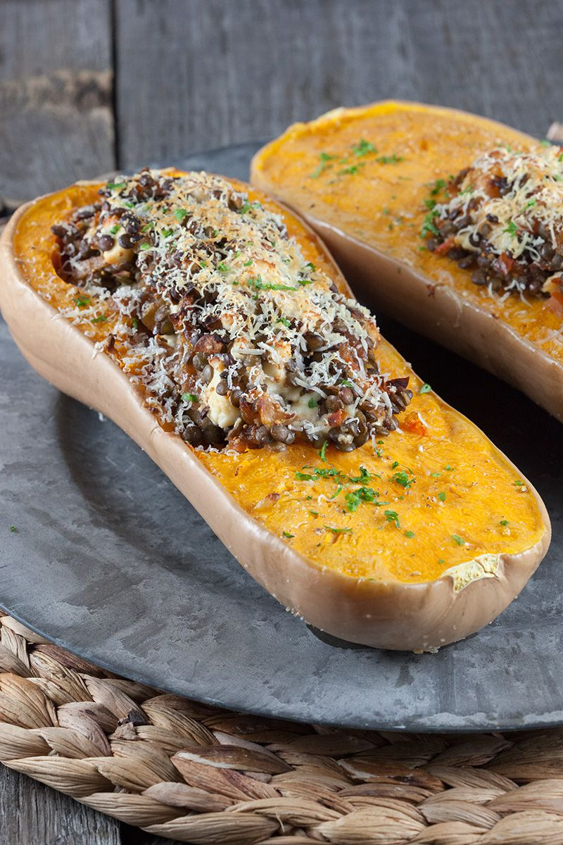 Roasted butternut squash filled with lentils and feta ...