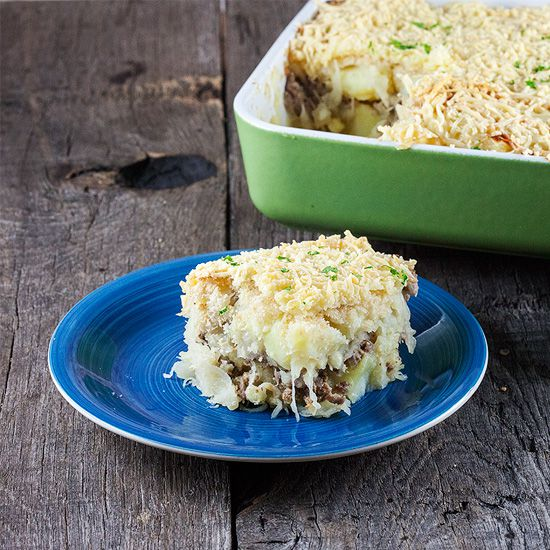 Sauerkraut mashed potatoes casserole square - Sauerkraut mashed potatoes casserole