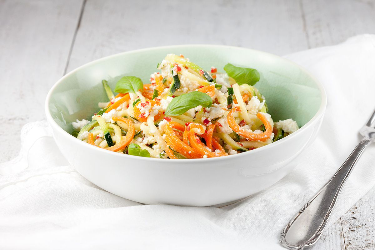 Spiralized zucchini and ricotta salad
