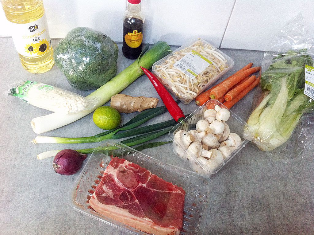 Asian pork and vegetable soup ingredients