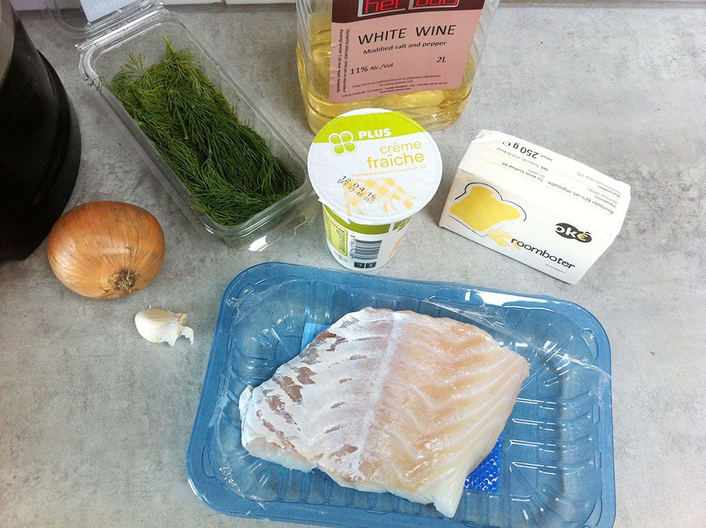 Creamy white wine and dill sauce ingredients