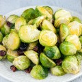 Oven roasted Brussels sprouts with cranberries