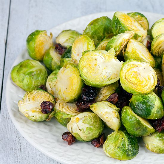 Oven-roasted Brussels sprouts with cranberries