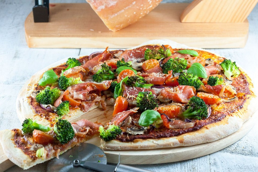 Serrano ham broccoli and basil pizza