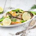 Skin baked salmon with scallions and lime 120x120 - Baked sea bass with lemongrass and ginger