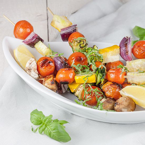 Chargrilled vegetable kebabs