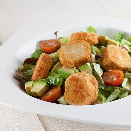 Fried goat cheese salad square - Fried goat cheese salad
