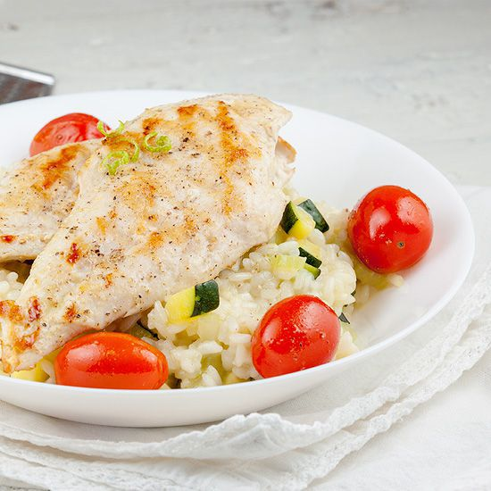 Grilled chicken risotto square - Grilled chicken risotto