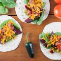 Pickled red beets and chorizo tacos