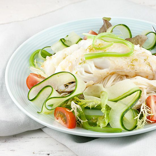 Cod flat beans and noodle sping salad square - Cod, flat beans and noodle spring salad