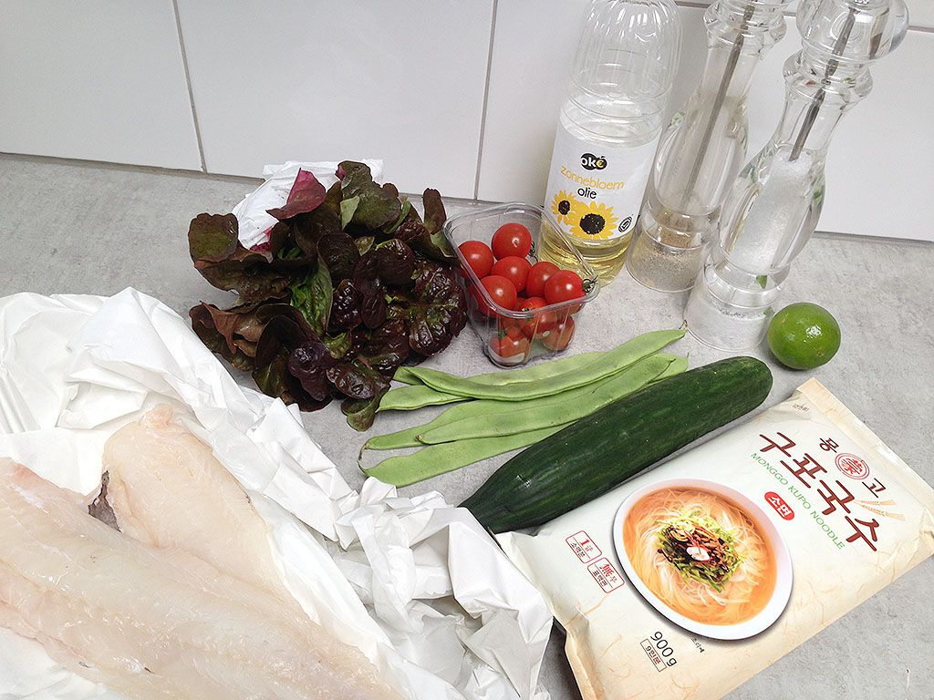 Cod, flat beans and noodle spring salad ingredients
