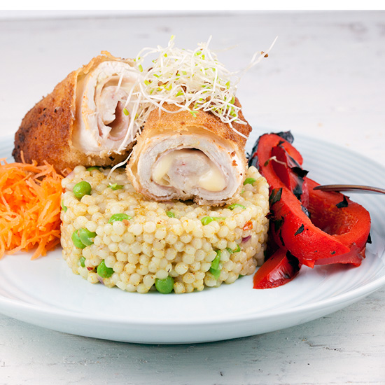 Cordon bleu with pearl couscous square - Cordon bleu with pearl couscous