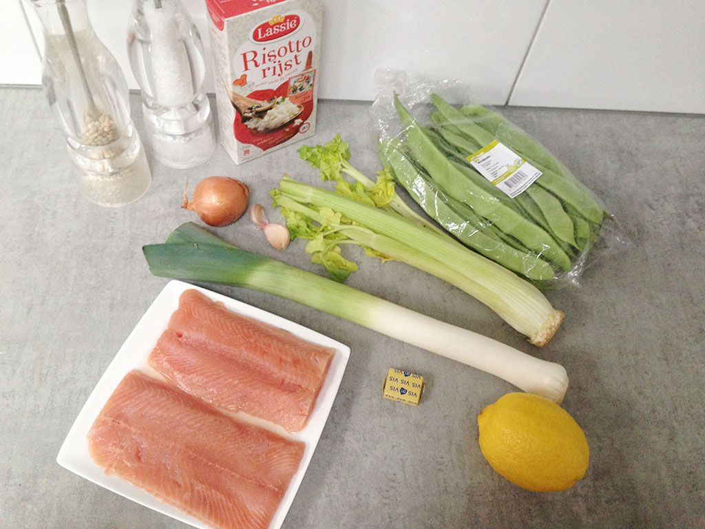 Salmon and flat bean risotto ingredients