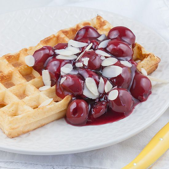 Waffles and warm cherries square - Waffles and warm cherries