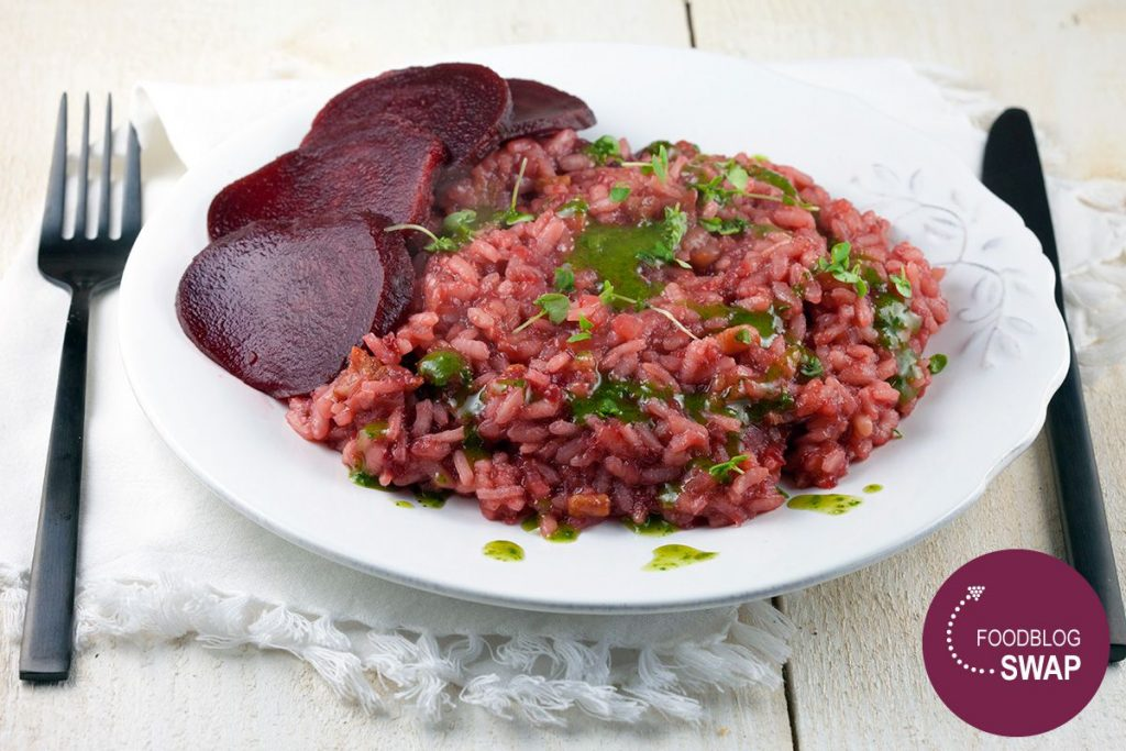 Beetroot risotto with streaky bacon