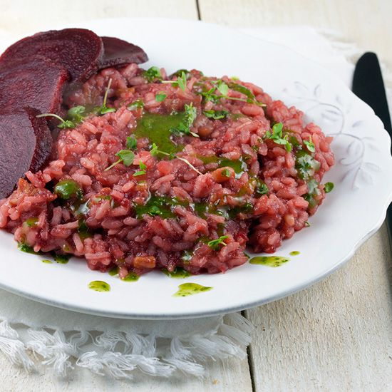 Beetroot risotto with streaky bacon square - Beetroot risotto with streaky bacon