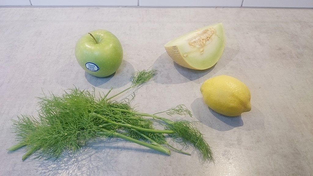 Dill, melon, lemon and apple detox water ingredients