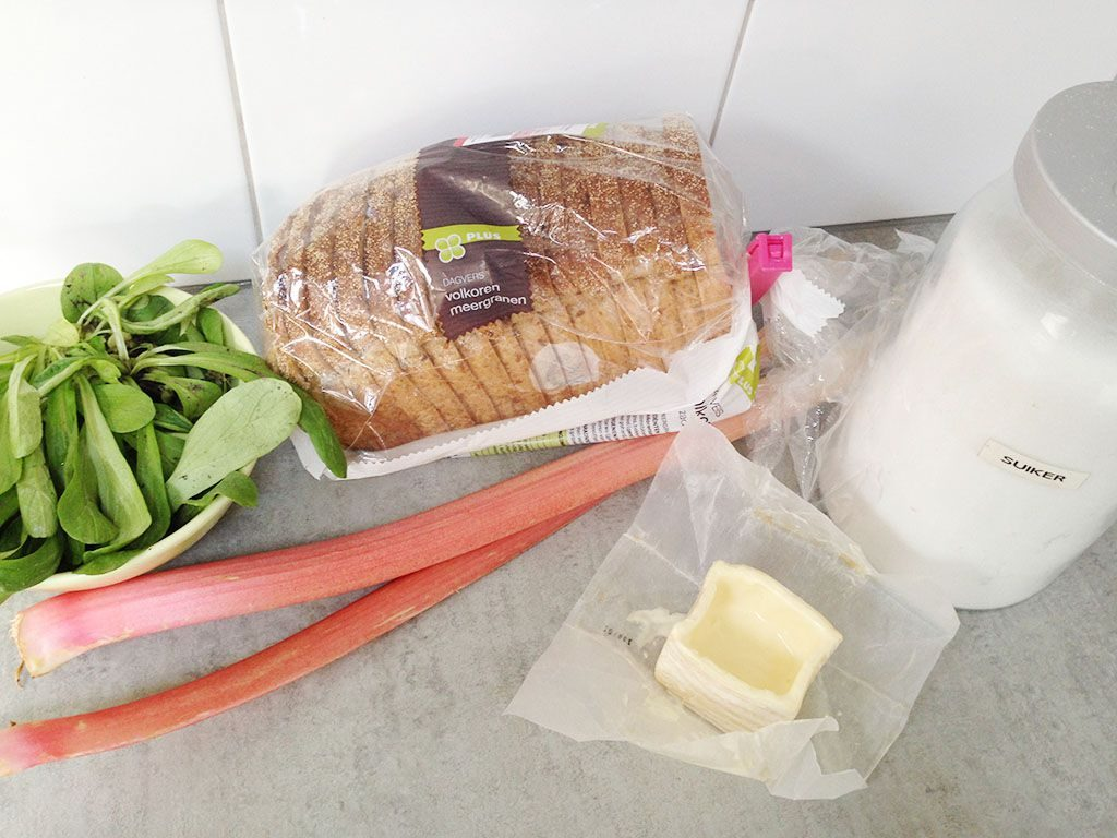 Grilled rhubarb carre d'ambre sandwich ingredients