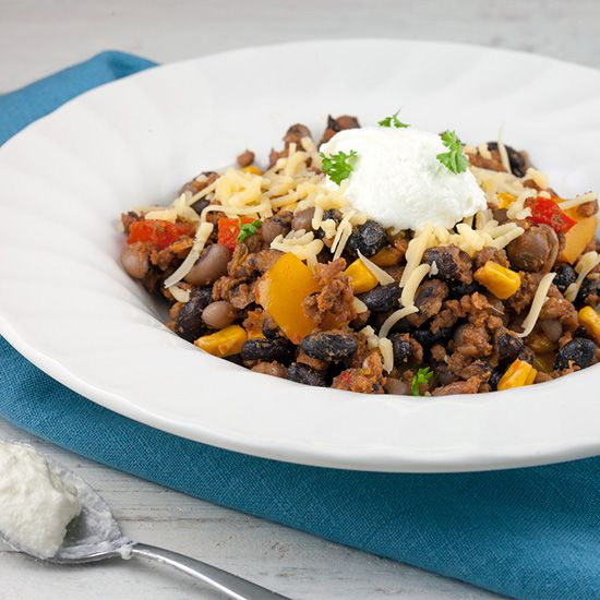 One pot Mexican beans and mince square - One-pot Mexican beans and mince