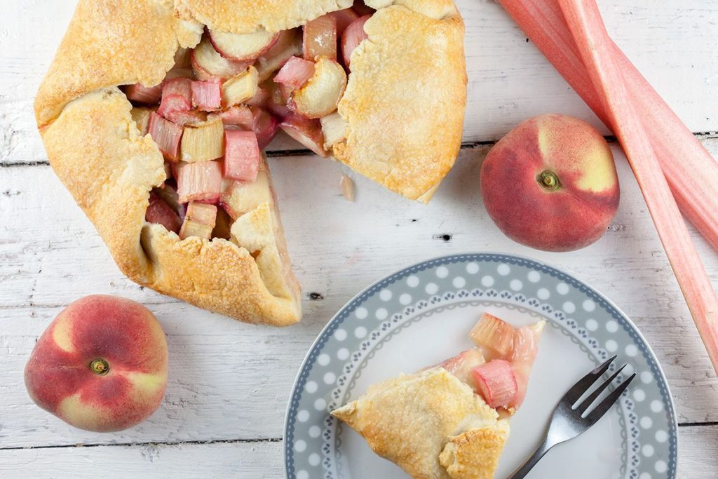 Rhubarb and wild peach galette