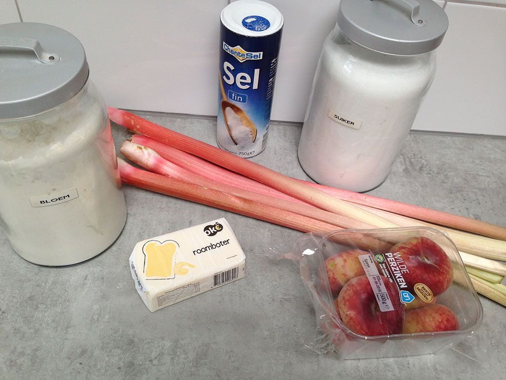 Rhubarb and wild peach galette ingredients