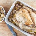 Roasted chicken with 40 cloves of garlic 120x120 - Oven-roasted artichoke, chicken and potatoes