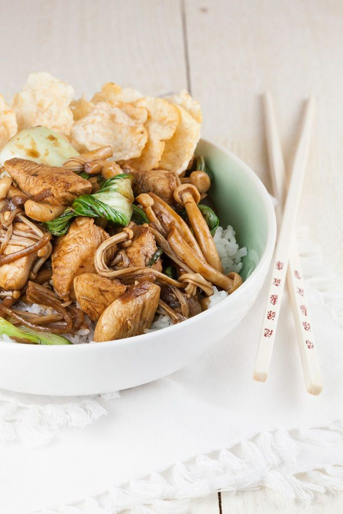 Shimeji enoki and chicken stir fry with pandan rice 2 683x1024 - Shimeji, enoki and chicken stir fry with pandan rice