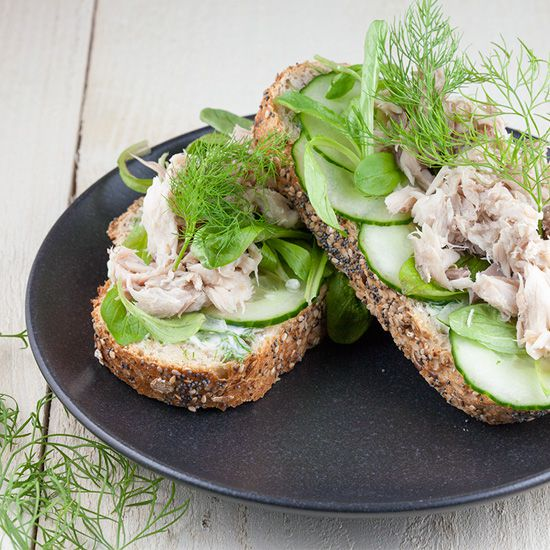 Smoked mackerel and dill sandwich square - Smoked mackerel and dill sandwich