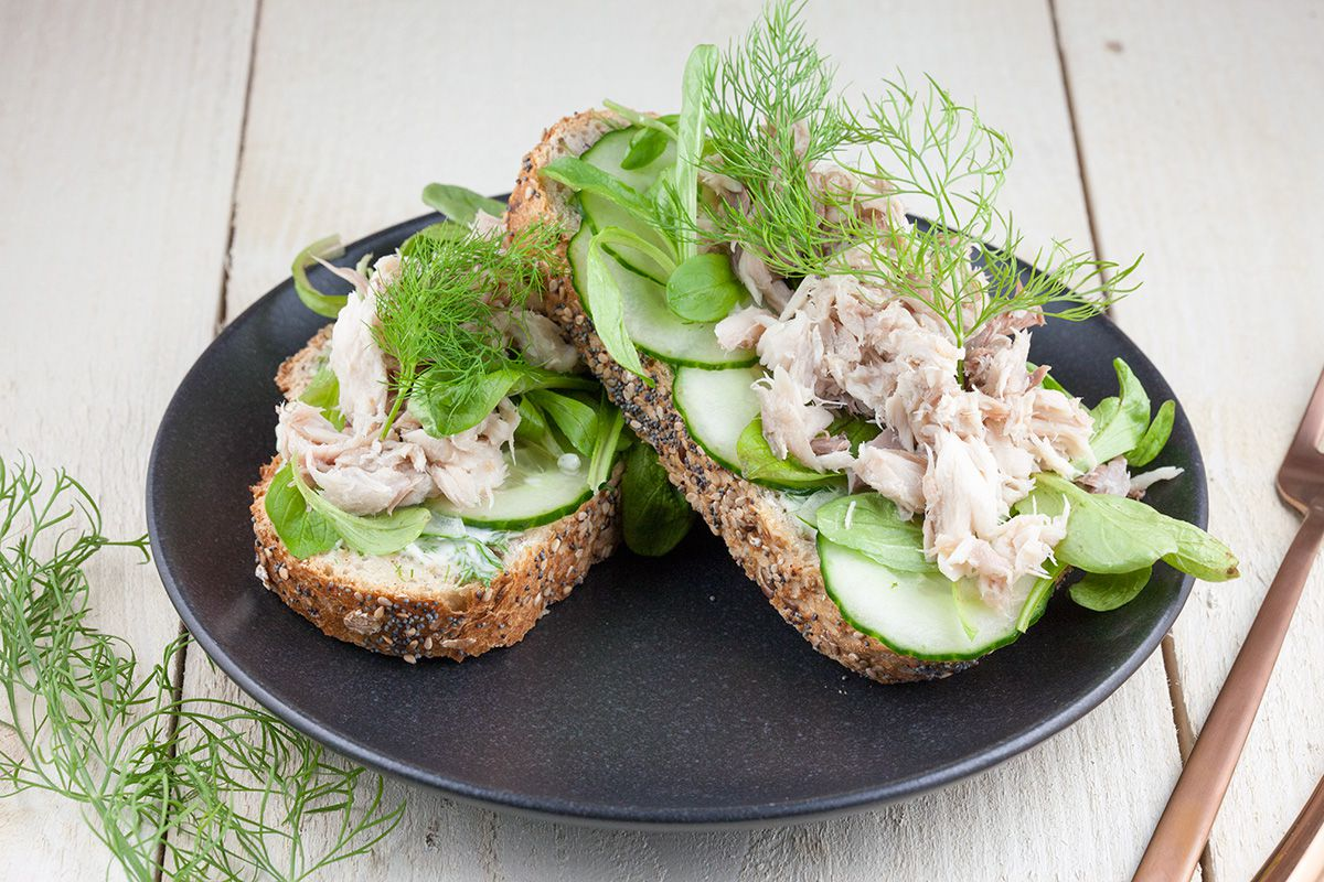 Smoked mackerel and dill sandwich