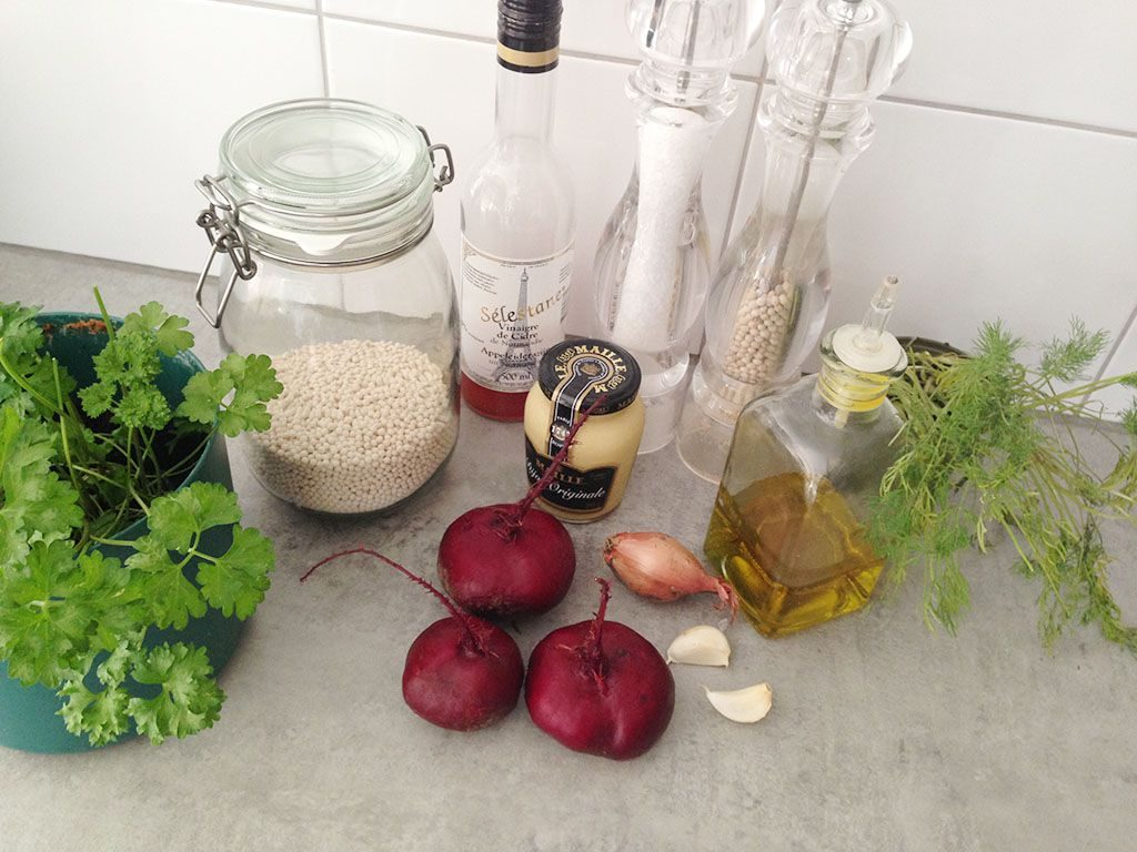 Beetroot pearl couscous ingredients