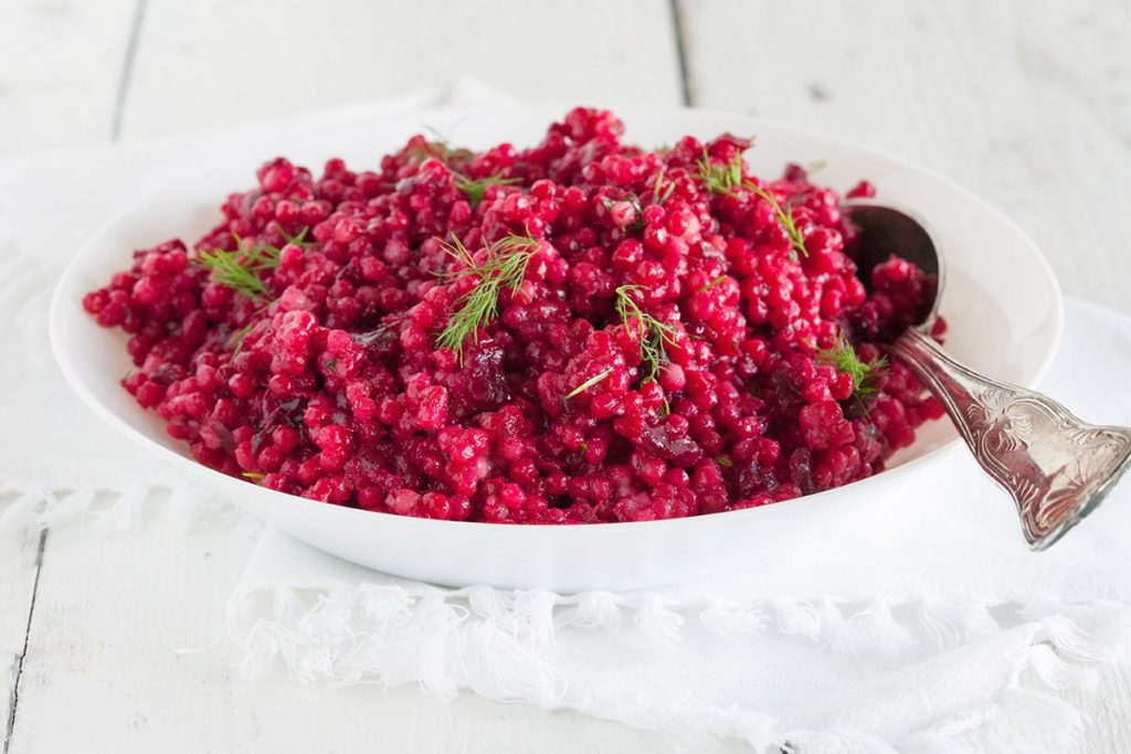 Beetroot pearl couscous salad