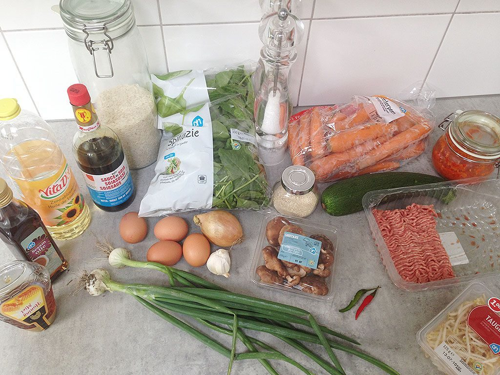 Bibimbap - Korean rice and vegetables ingredients