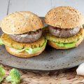 Broccoli and beef burgers