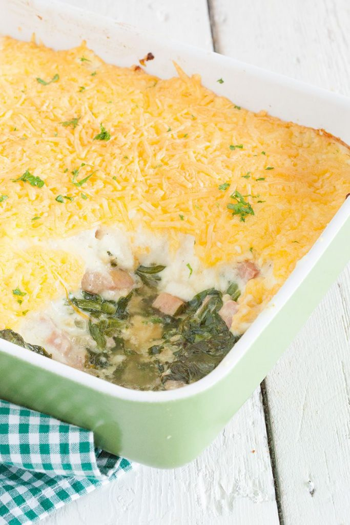 Escarole oven dish with ham and cheese