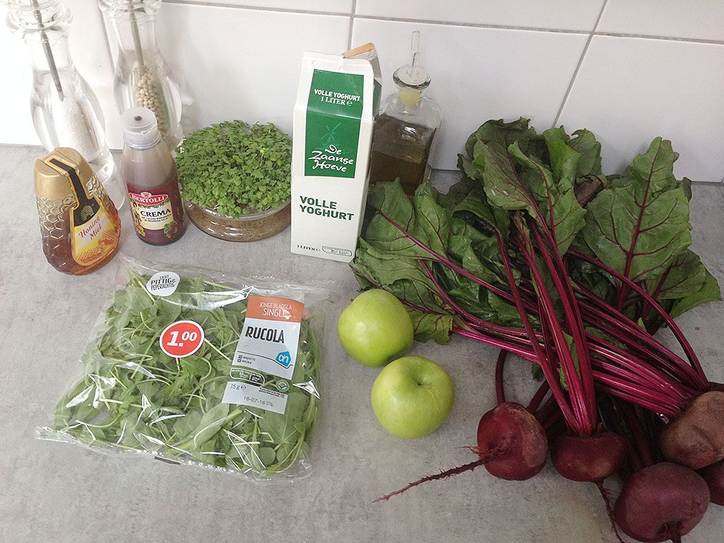 Green apple and beetroot carpaccio ingredients