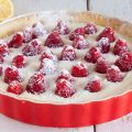 Raspberry mascarpone pie