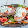 Smoked salmon and cucumber cream cheese sandwich