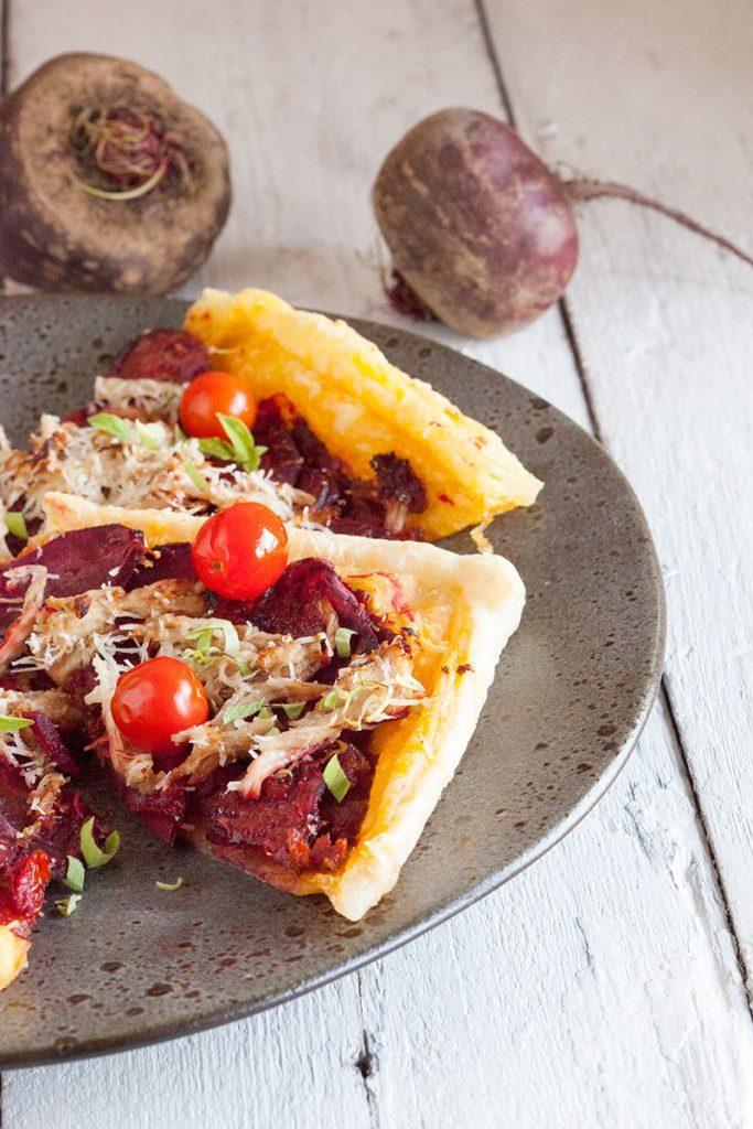 Beetroot and chicken puff pastry tart