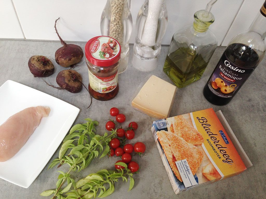Beetroot and chicken puff pastry tart ingredients