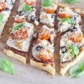 Eggplant and basil puff pastry tart 120x120 - Sabich - pitas with eggplant and egg