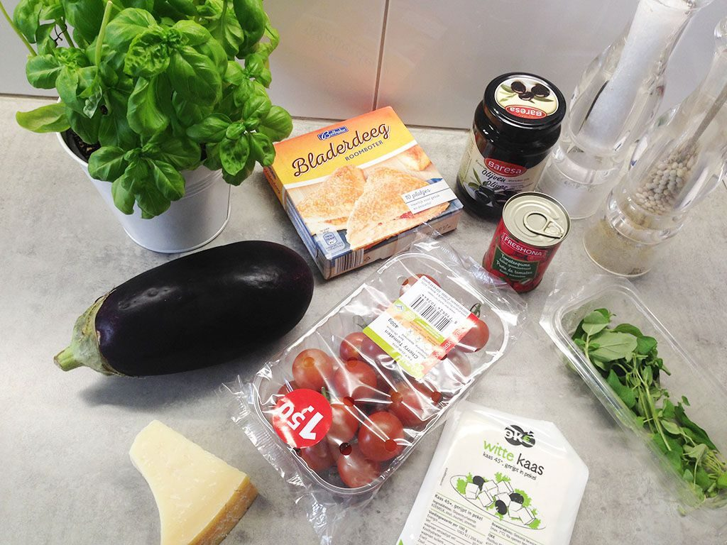 Eggplant-and-basil-puff-pastry-tart-ingredients