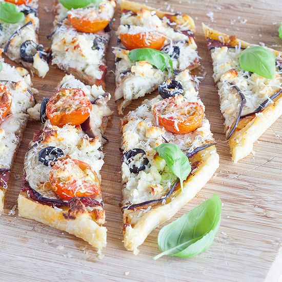 Eggplant and basil puff pastry tart square - Eggplant and basil puff pastry tart