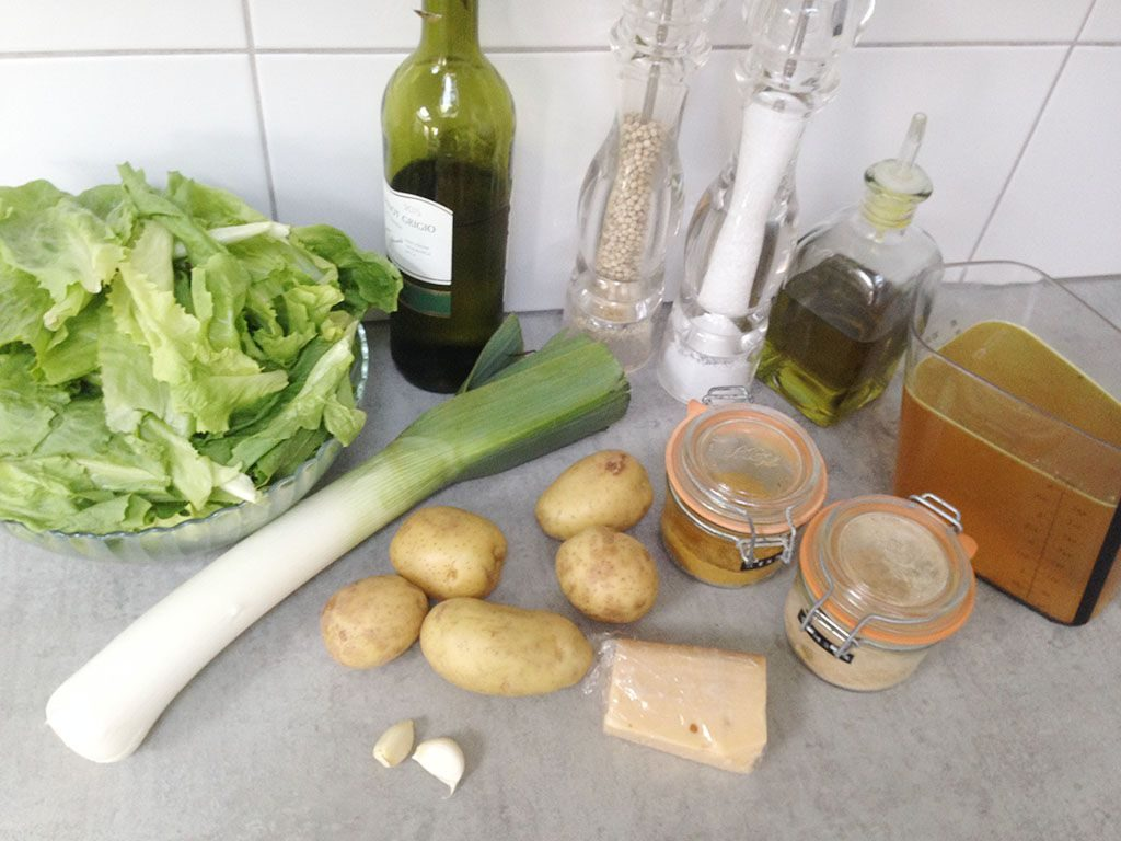 Escarole and potato soup ingredients