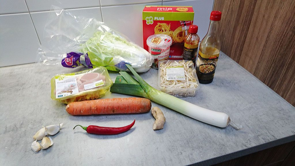 Indonesian bami goreng ingredients