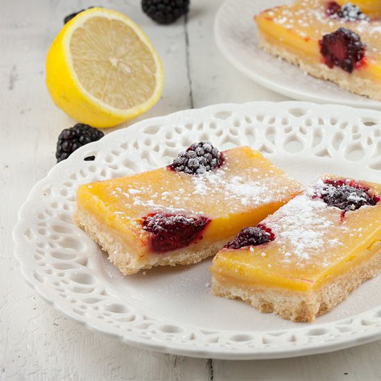 Lemon bars with blackberries
