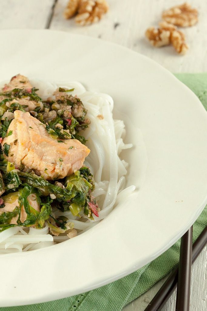 Salmon with escarole and rice noodles