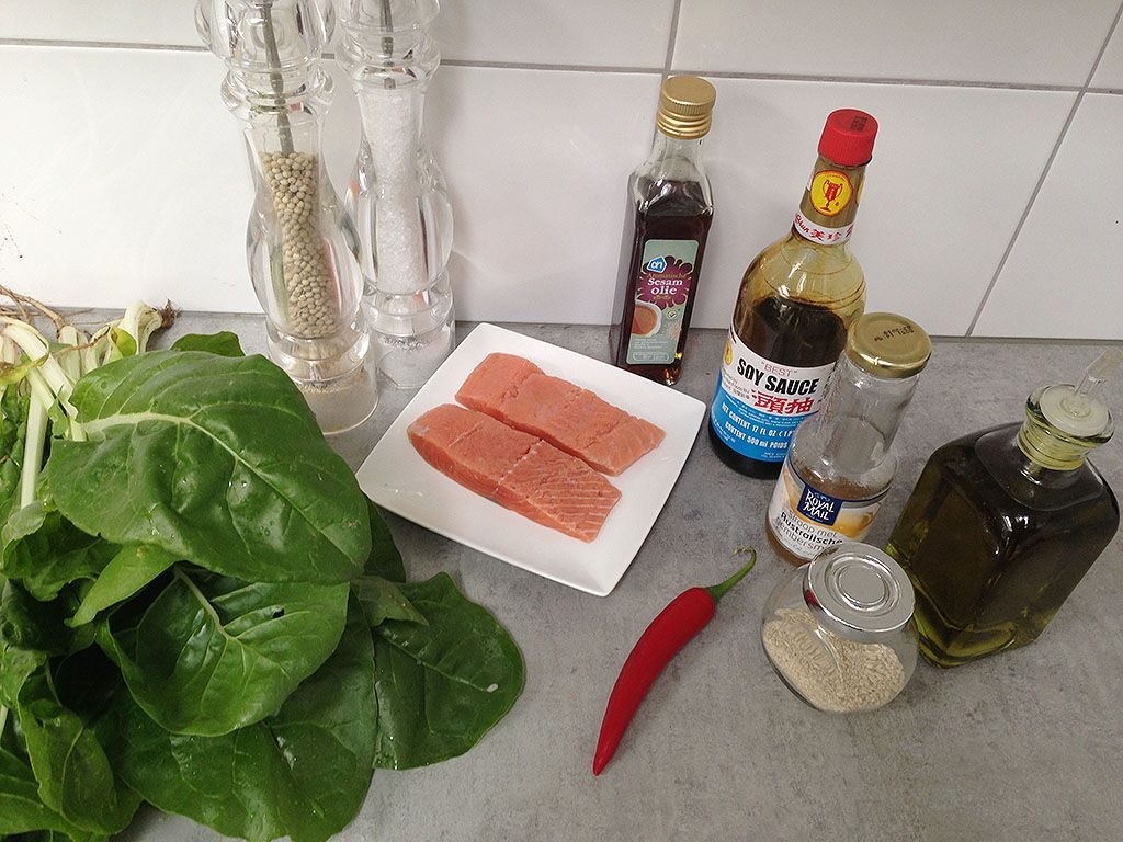 Sesame-crusted salmon ingredients