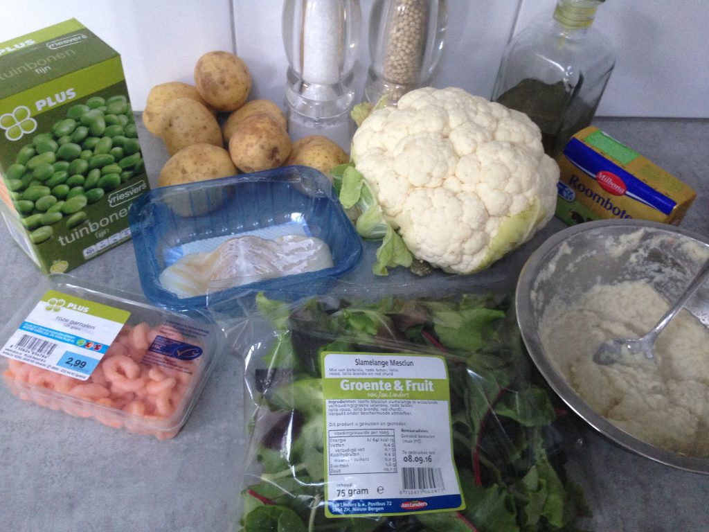 Cod with broad beans and cauliflower ingredients