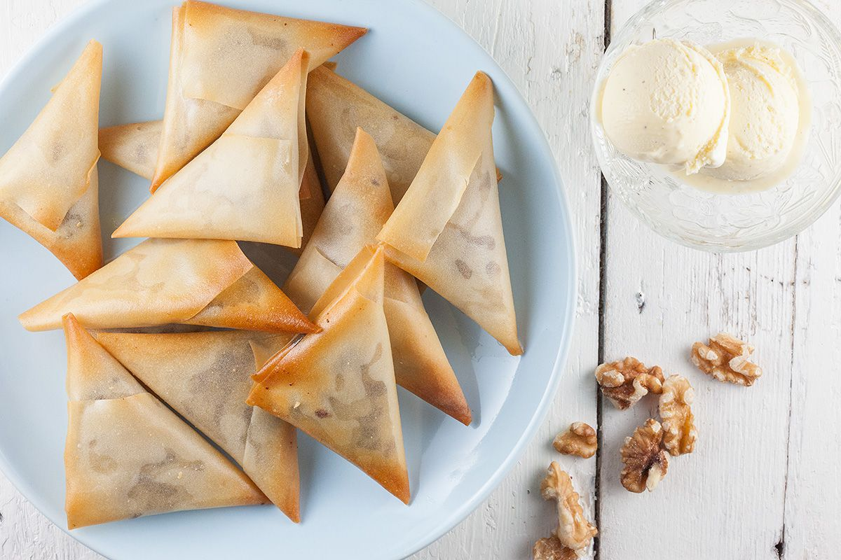 Date and walnut filo pastries