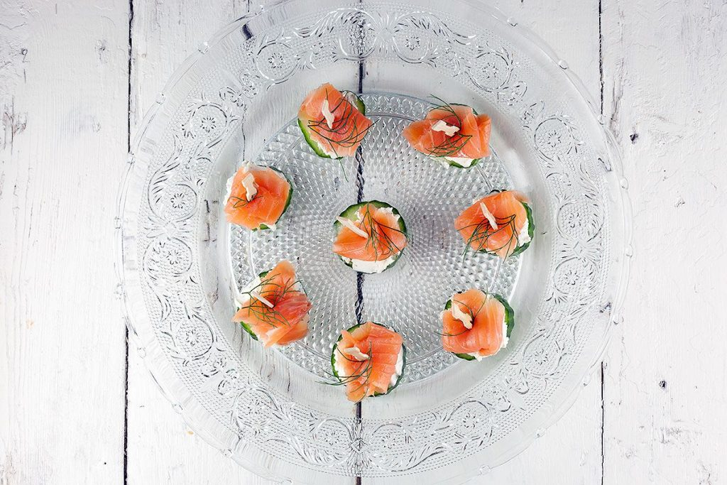 Mini cucumber smoked salmon appetizers